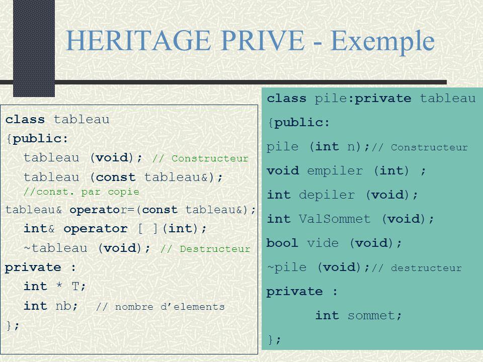 class M {public : protected: private : }; class D : {public : protected: private : }; private M Partie inaccessible héritée HERITAGE : private Partage
