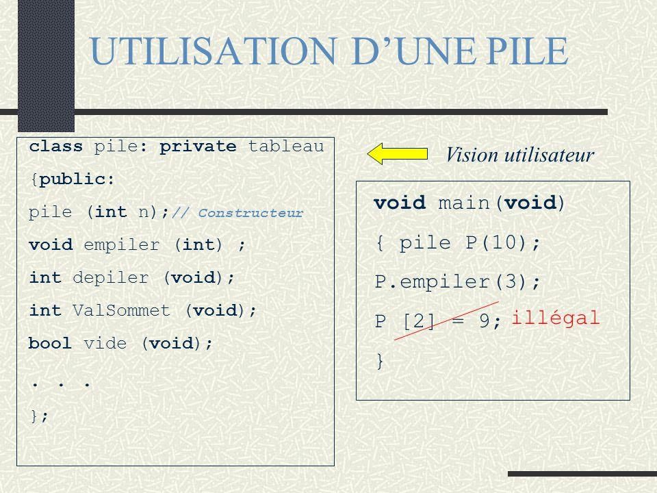 HERITAGE PRIVE - Exemple class tableau {public: tableau (void); // Constructeur tableau (const tableau&); //const. par copie tableau& operator=(const
