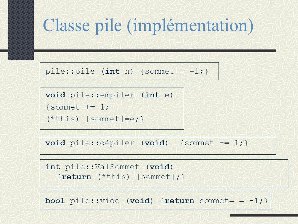 UTILISATION D'UNE PILE void main(void) { pile P(10); P.empiler(3); P [2] = 9; } Vision utilisateur class pile: private tableau {public: pile (int n);