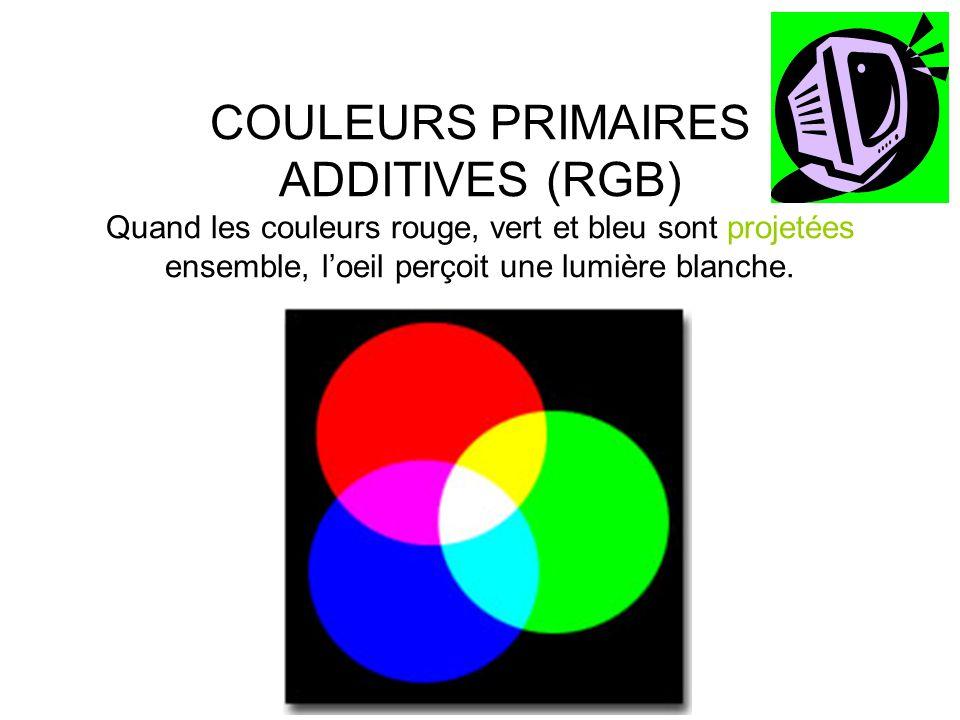 COULEURS PRIMAIRES SOUSTRACTIVES (CMYK) •Les couleurs cyan, magenta et jaune sont appelées les primaires soustractives car chaque couleur devient visible par la soustraction d une couleur additive de la lumière blanche.