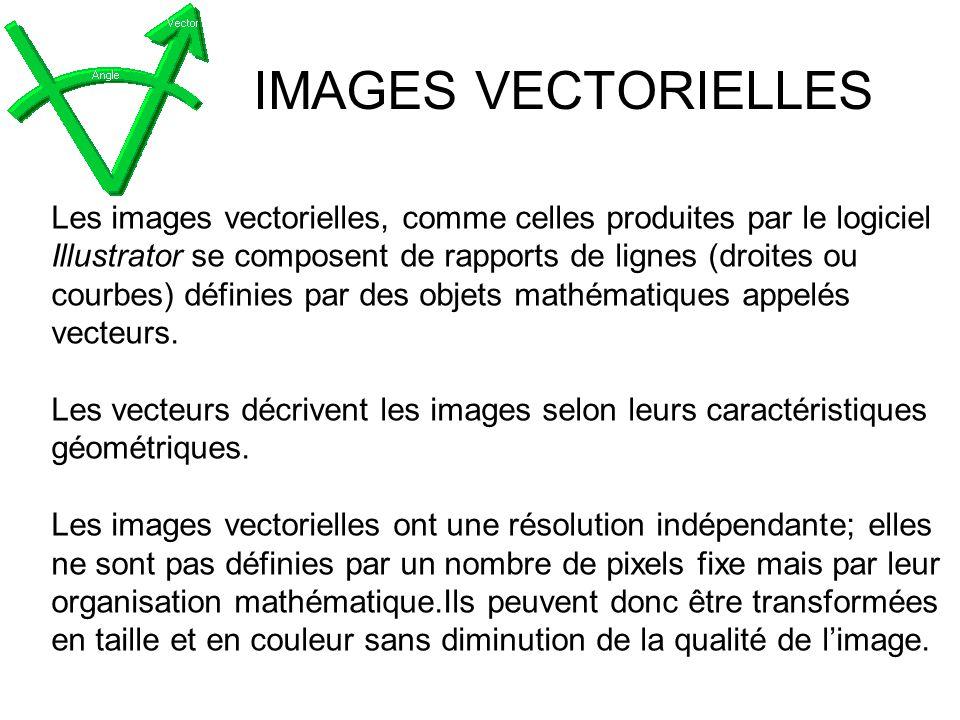 IMAGES VECTORIELLES Les images vectorielles, comme celles produites par le logiciel Illustrator se composent de rapports de lignes (droites ou courbes