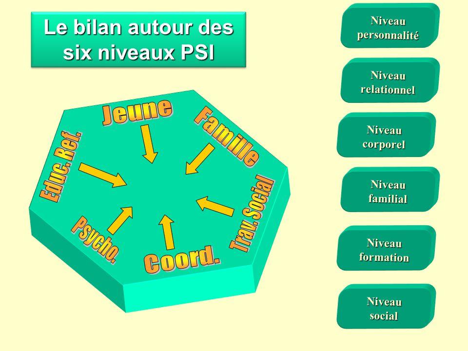 Le bilan autour des six niveaux PSI Niveaufamilial Niveaucorporel Niveauformation Niveausocial Niveaupersonnalité Niveaurelationnel