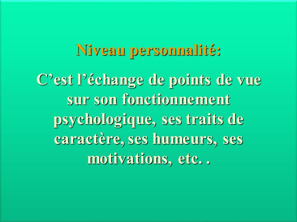 Niveau personnalité: C'est l'échange de points de vue sur son fonctionnement psychologique, ses traits de caractère, ses humeurs, ses motivations, etc