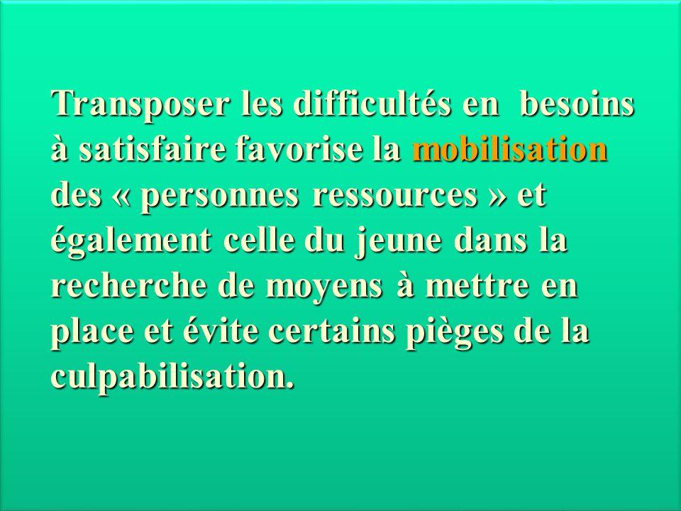 Transposer les difficultés en besoins à satisfaire favorise la mobilisation des « personnes ressources » et également celle du jeune dans la recherche