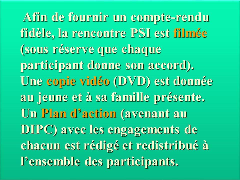 Afin de fournir un compte-rendu fidèle, la rencontre PSI est filmée (sous réserve que chaque participant donne son accord). Une copie vidéo (DVD) est