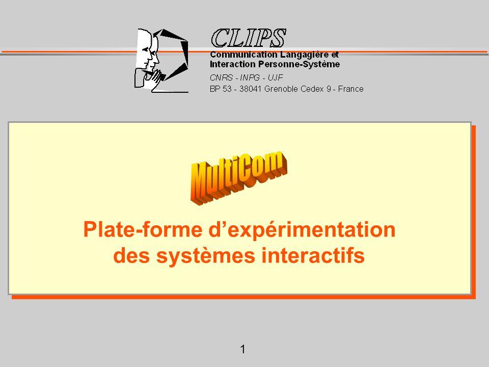 1 Plate-forme d'expérimentation des systèmes interactifs Plate-forme d'expérimentation des systèmes interactifs