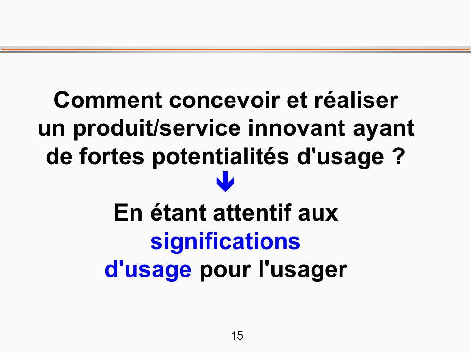 15 Comment concevoir et réaliser un produit/service innovant ayant de fortes potentialités d'usage ?  En étant attentif aux significations d'usage po