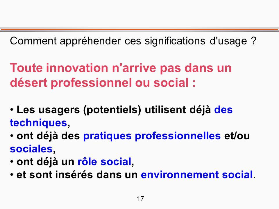 17 Comment appréhender ces significations d'usage ? Toute innovation n'arrive pas dans un désert professionnel ou social : • Les usagers (potentiels)