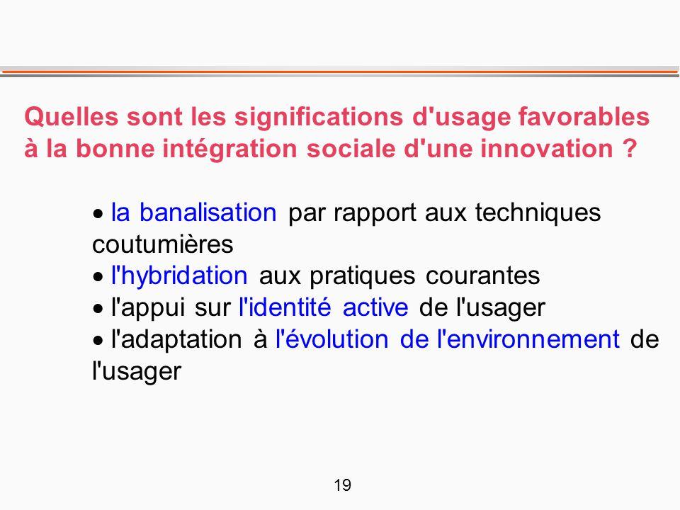 19 Quelles sont les significations d'usage favorables à la bonne intégration sociale d'une innovation ?  la banalisation par rapport aux techniques c