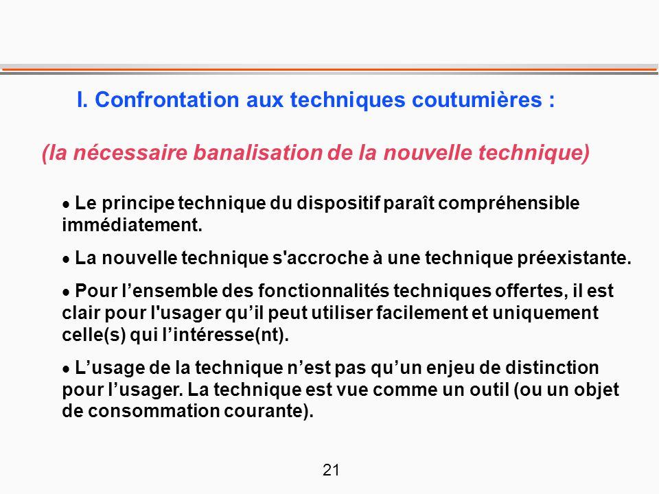 21 I. Confrontation aux techniques coutumières : (la nécessaire banalisation de la nouvelle technique)  Le principe technique du dispositif paraît co