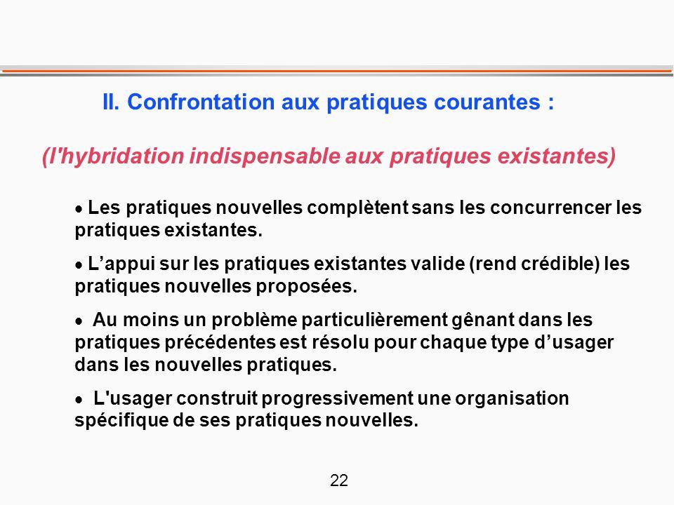 22 II. Confrontation aux pratiques courantes : (l'hybridation indispensable aux pratiques existantes)  Les pratiques nouvelles complètent sans les co