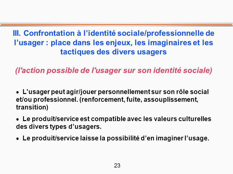 23 III. Confrontation à l'identité sociale/professionnelle de l'usager : place dans les enjeux, les imaginaires et les tactiques des divers usagers (l
