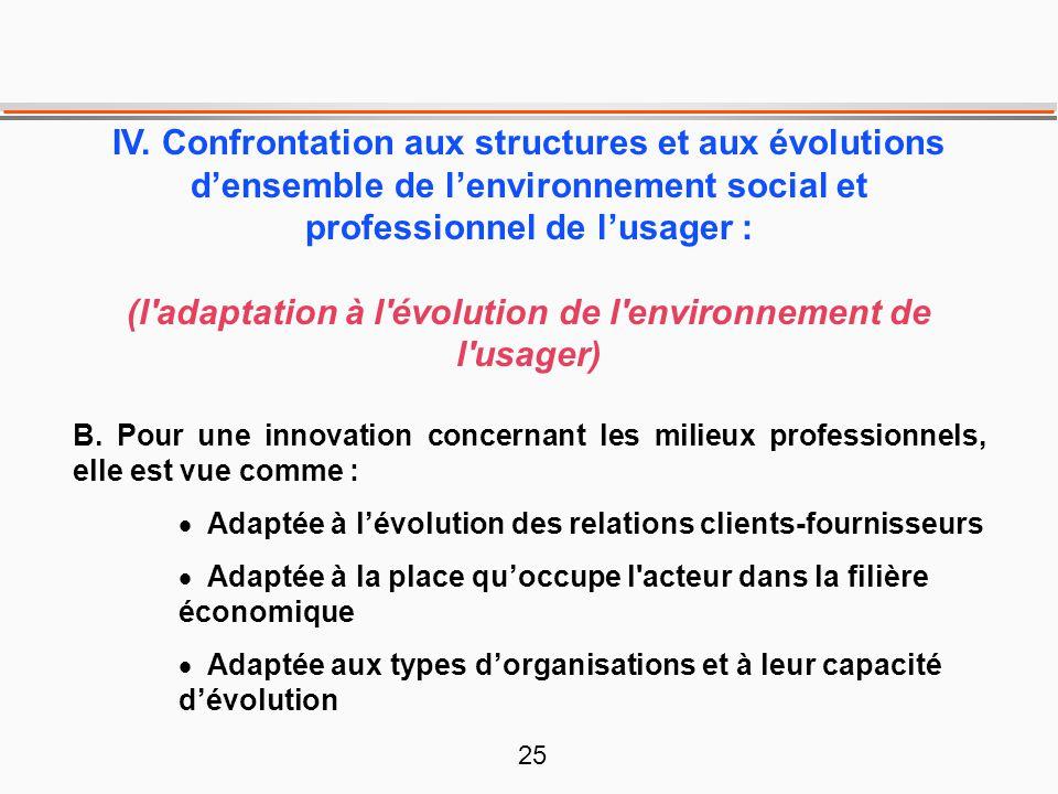 25 IV. Confrontation aux structures et aux évolutions d'ensemble de l'environnement social et professionnel de l'usager : (l'adaptation à l'évolution
