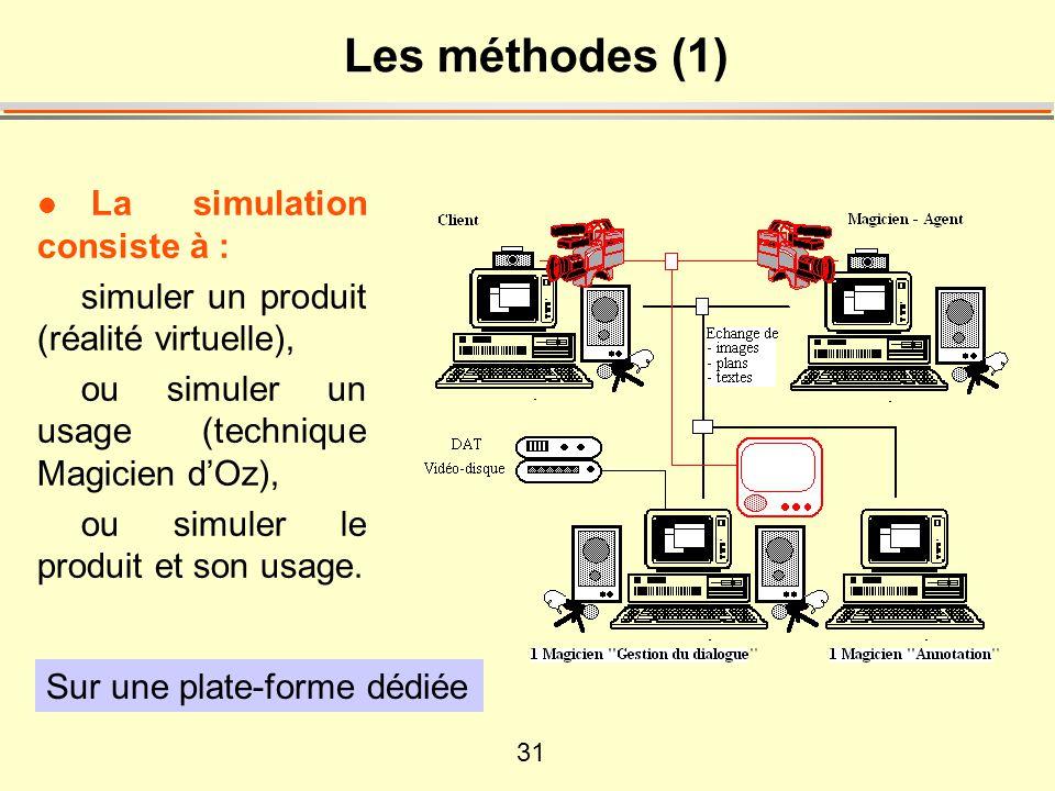 31 Les méthodes (1) l La simulation consiste à : simuler un produit (réalité virtuelle), ou simuler un usage (technique Magicien d'Oz), ou simuler le produit et son usage.