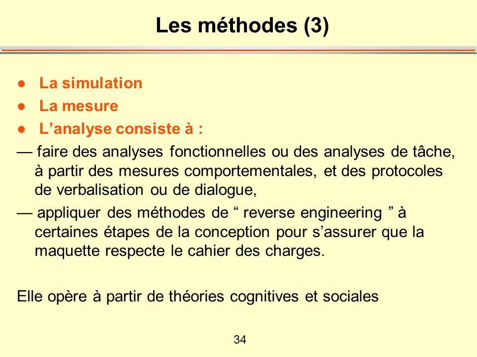 34 Les méthodes (3) l La simulation l La mesure l L'analyse consiste à : — faire des analyses fonctionnelles ou des analyses de tâche, à partir des me