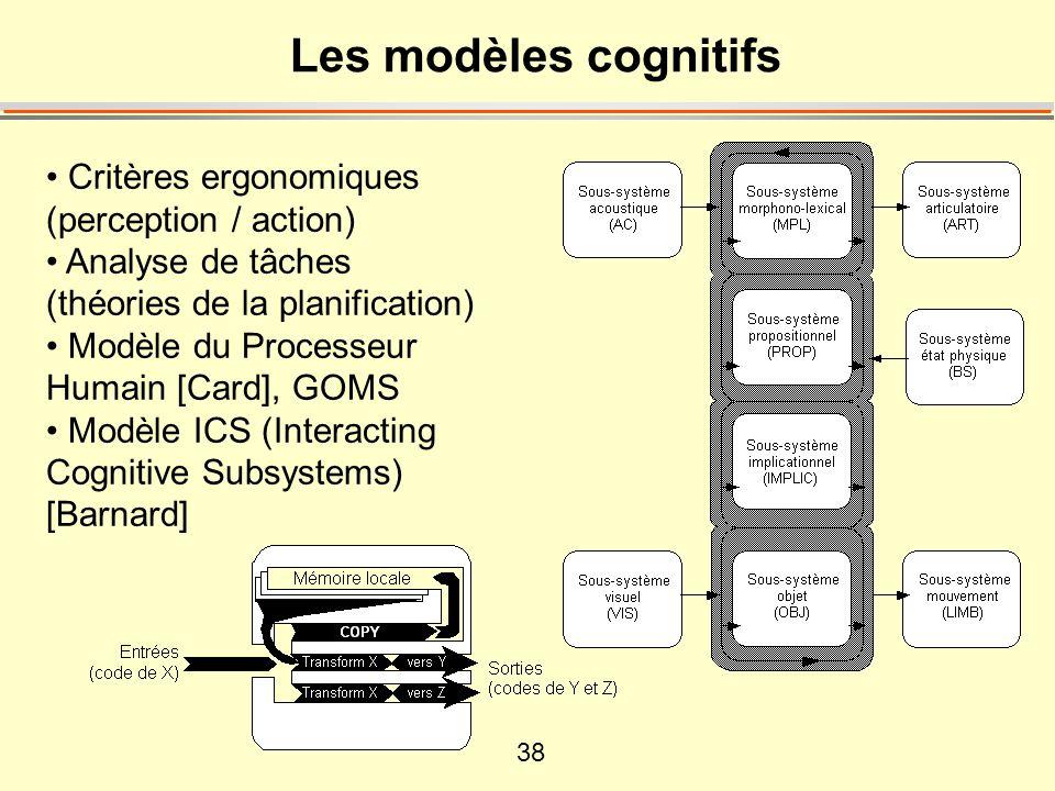 38 Les modèles cognitifs • Critères ergonomiques (perception / action) • Analyse de tâches (théories de la planification) • Modèle du Processeur Humain [Card], GOMS • Modèle ICS (Interacting Cognitive Subsystems) [Barnard]