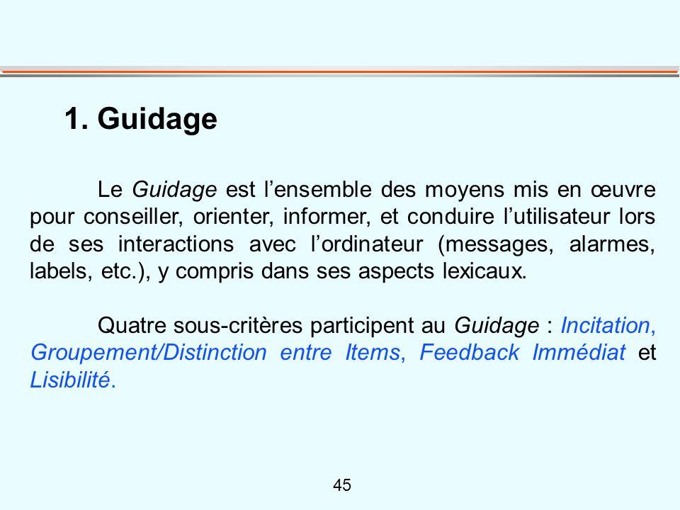 45 1. Guidage Le Guidage est l'ensemble des moyens mis en œuvre pour conseiller, orienter, informer, et conduire l'utilisateur lors de ses interaction