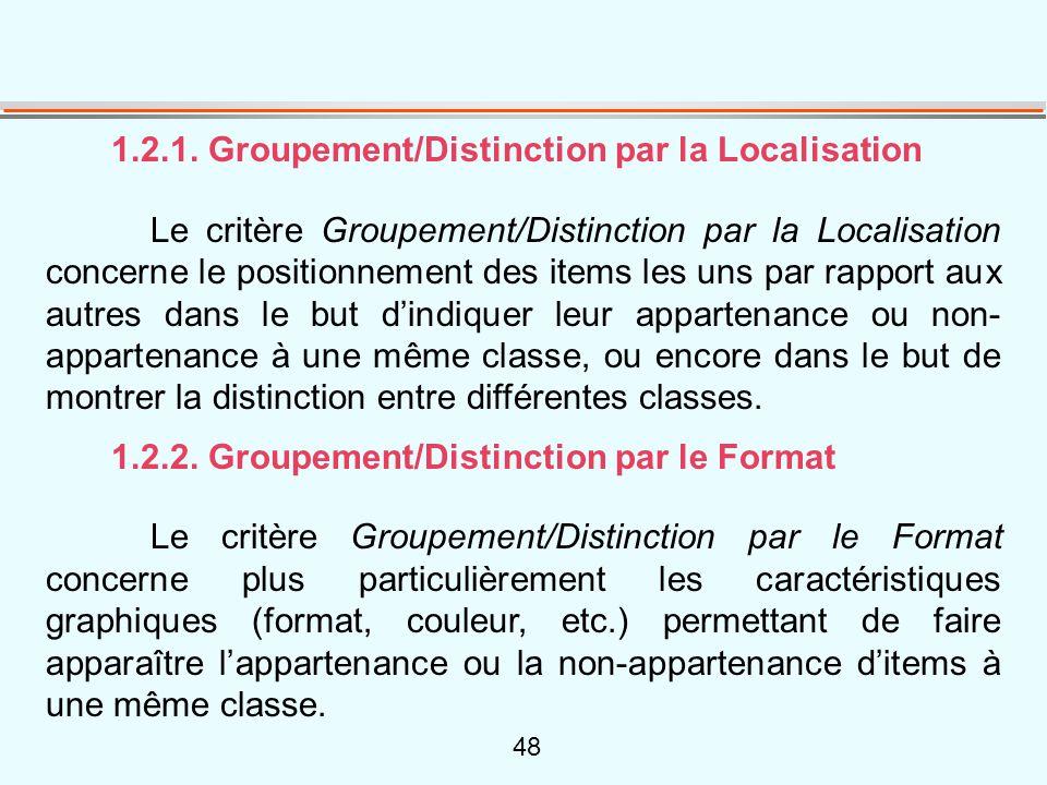 48 1.2.1. Groupement/Distinction par la Localisation Le critère Groupement/Distinction par la Localisation concerne le positionnement des items les un
