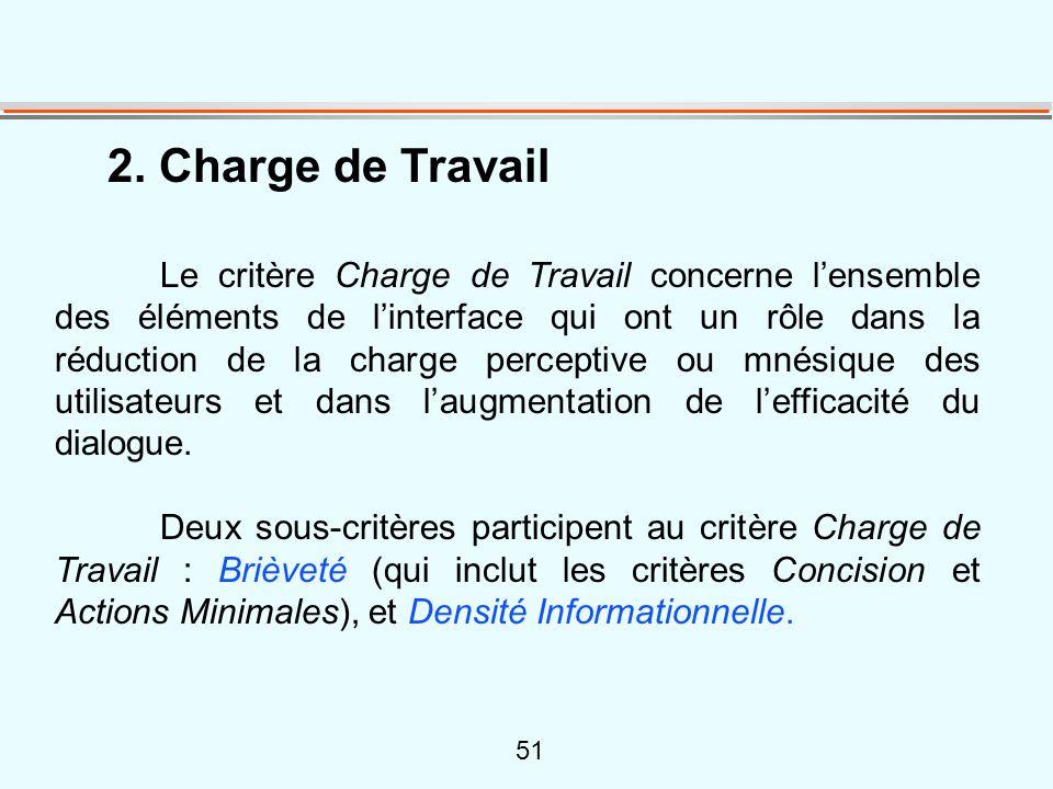 51 2. Charge de Travail Le critère Charge de Travail concerne l'ensemble des éléments de l'interface qui ont un rôle dans la réduction de la charge pe