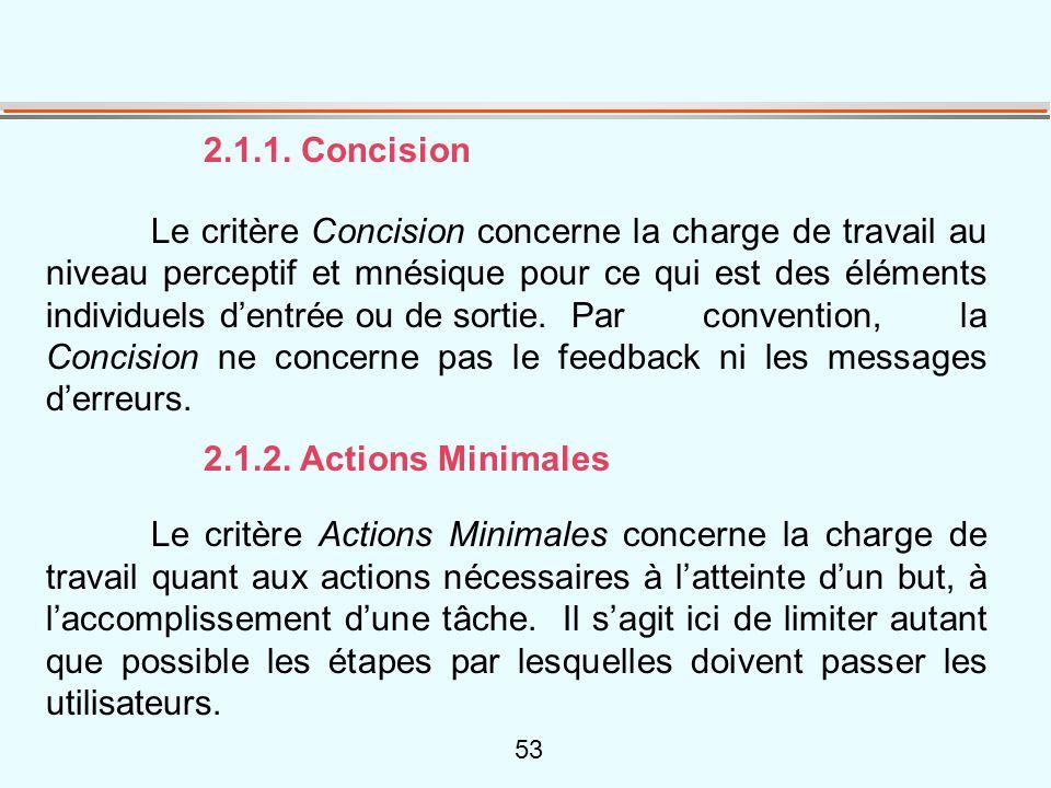 53 2.1.1. Concision Le critère Concision concerne la charge de travail au niveau perceptif et mnésique pour ce qui est des éléments individuels d'entr