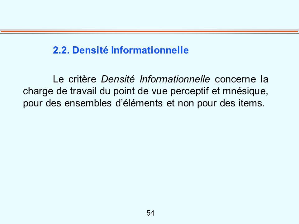 54 2.2. Densité Informationnelle Le critère Densité Informationnelle concerne la charge de travail du point de vue perceptif et mnésique, pour des ens