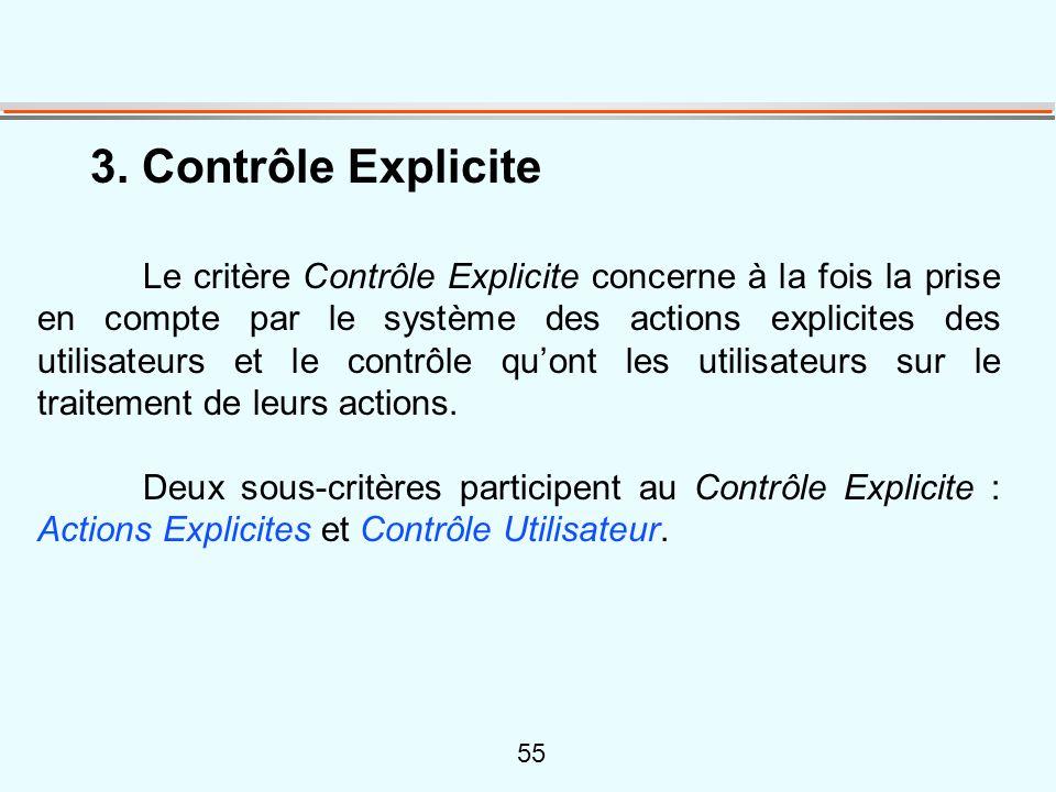55 3. Contrôle Explicite Le critère Contrôle Explicite concerne à la fois la prise en compte par le système des actions explicites des utilisateurs et