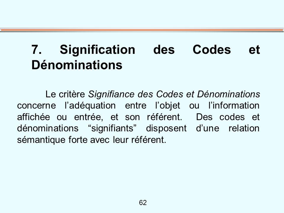 62 7. Signification des Codes et Dénominations Le critère Signifiance des Codes et Dénominations concerne l'adéquation entre l'objet ou l'information