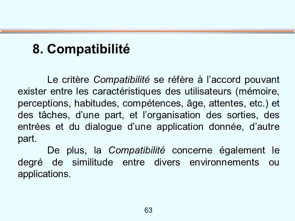 63 8. Compatibilité Le critère Compatibilité se réfère à l'accord pouvant exister entre les caractéristiques des utilisateurs (mémoire, perceptions, h