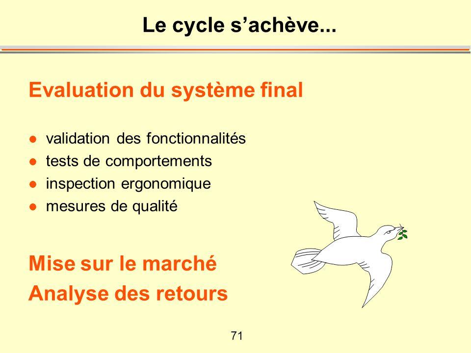 71 Le cycle s'achève... Evaluation du système final l validation des fonctionnalités l tests de comportements l inspection ergonomique l mesures de qu