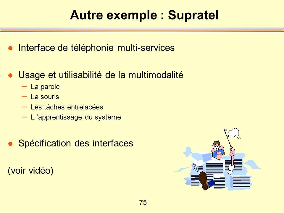 75 Autre exemple : Supratel l Interface de téléphonie multi-services l Usage et utilisabilité de la multimodalité – La parole – La souris – Les tâches entrelacées – L 'apprentissage du système l Spécification des interfaces (voir vidéo)