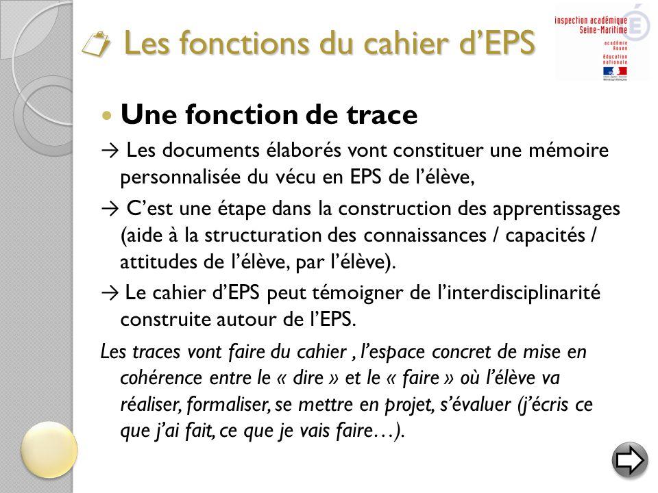  Une fonction de trace → Les documents élaborés vont constituer une mémoire personnalisée du vécu en EPS de l'élève, → C'est une étape dans la constr