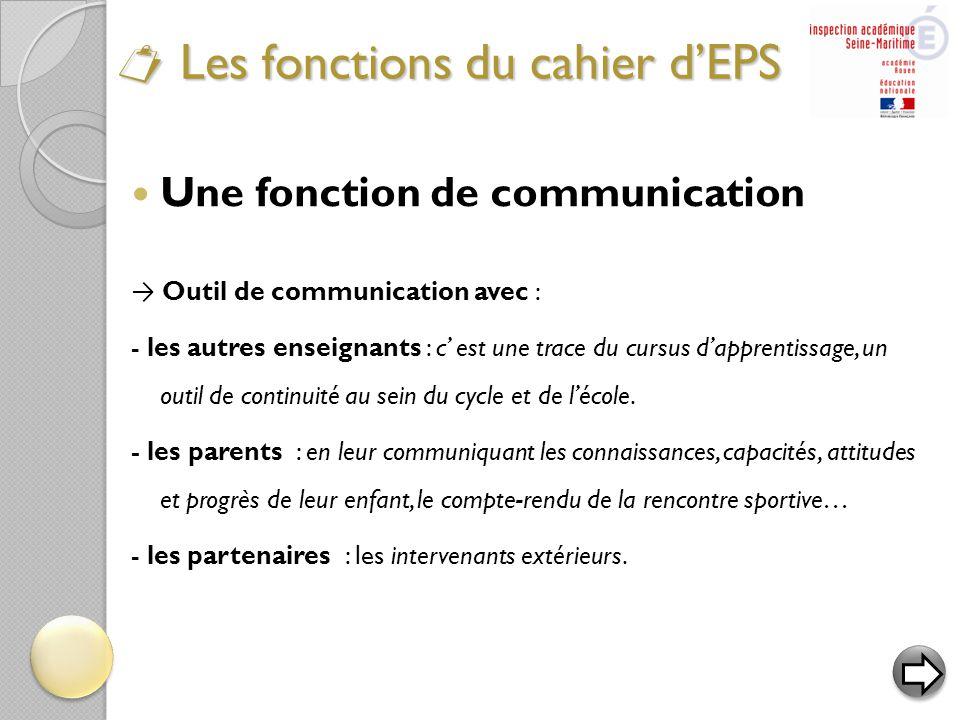  Une fonction de communication → Outil de communication avec : - les autres enseignants : c' est une trace du cursus d'apprentissage, un outil de con