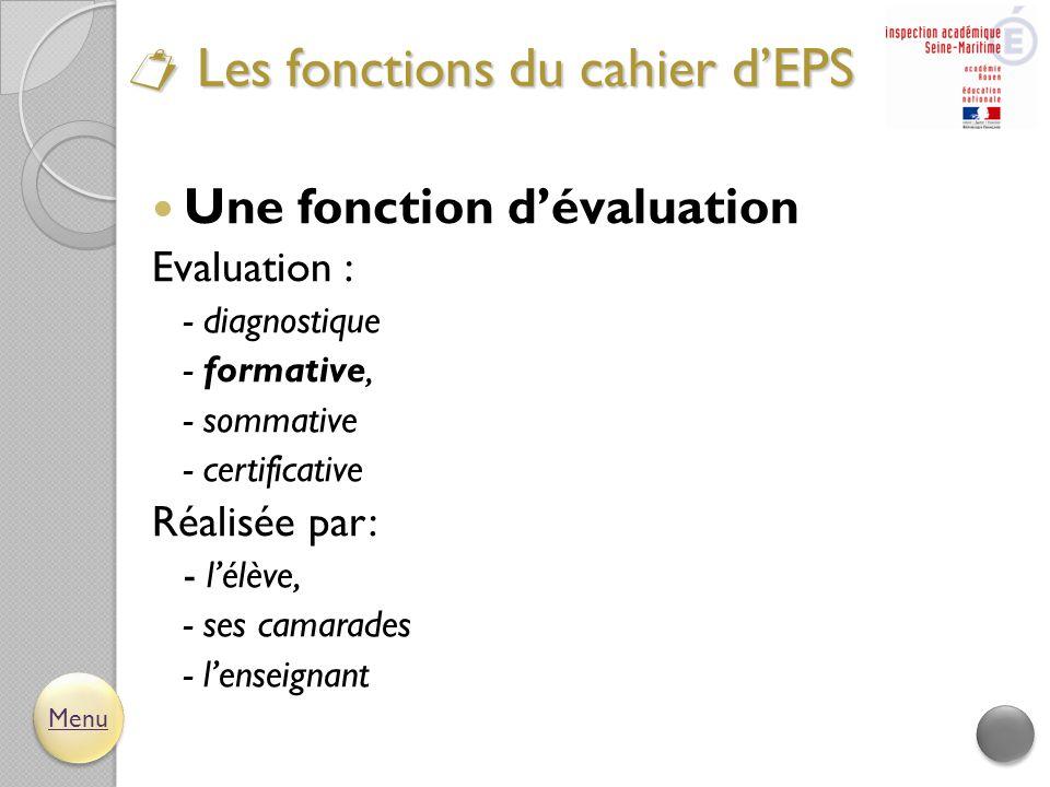  Une fonction d'évaluation Evaluation : - diagnostique - formative, - sommative - certificative Réalisée par: - l'élève, - ses camarades - l'enseigna