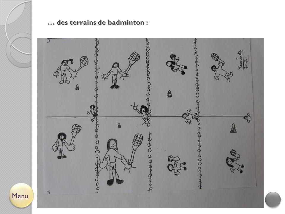… des terrains de badminton : Menu