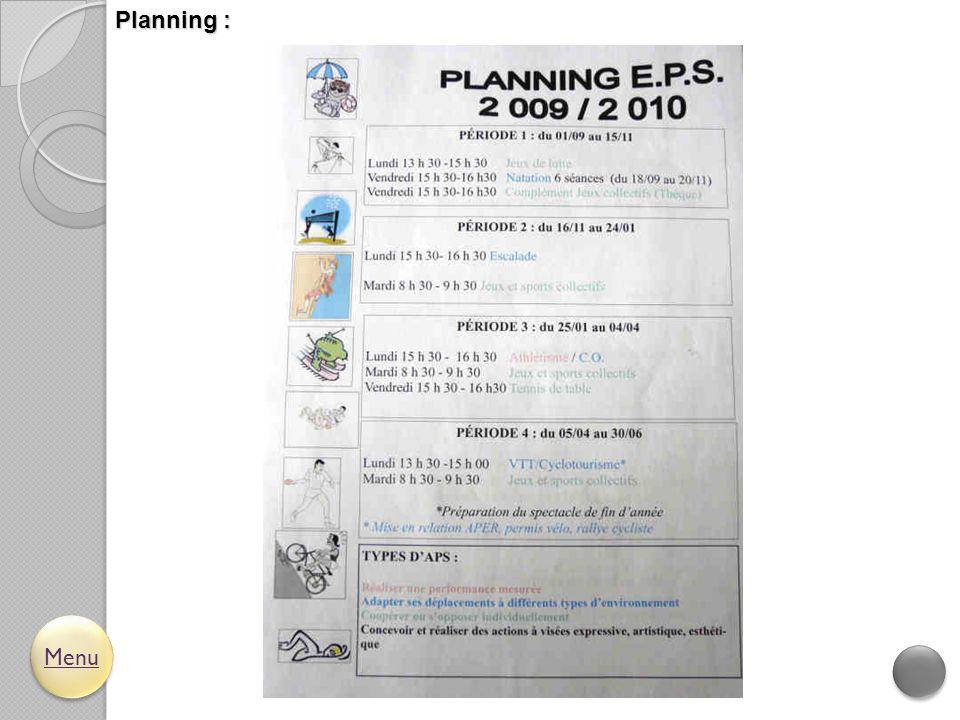 Planning : Menu