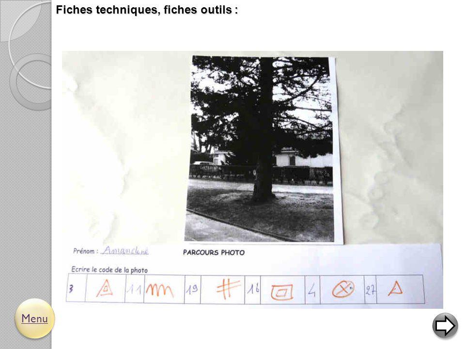 Fiches techniques, fiches outils : Menu