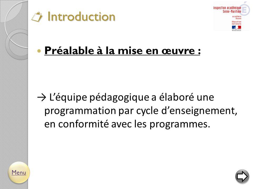  Introduction  Préalable à la mise en œuvre : → L'équipe pédagogique a élaboré une programmation par cycle d'enseignement, en conformité avec les pr