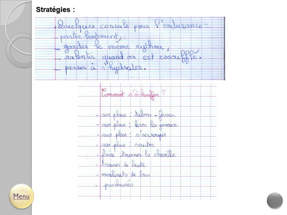 Stratégies : Menu