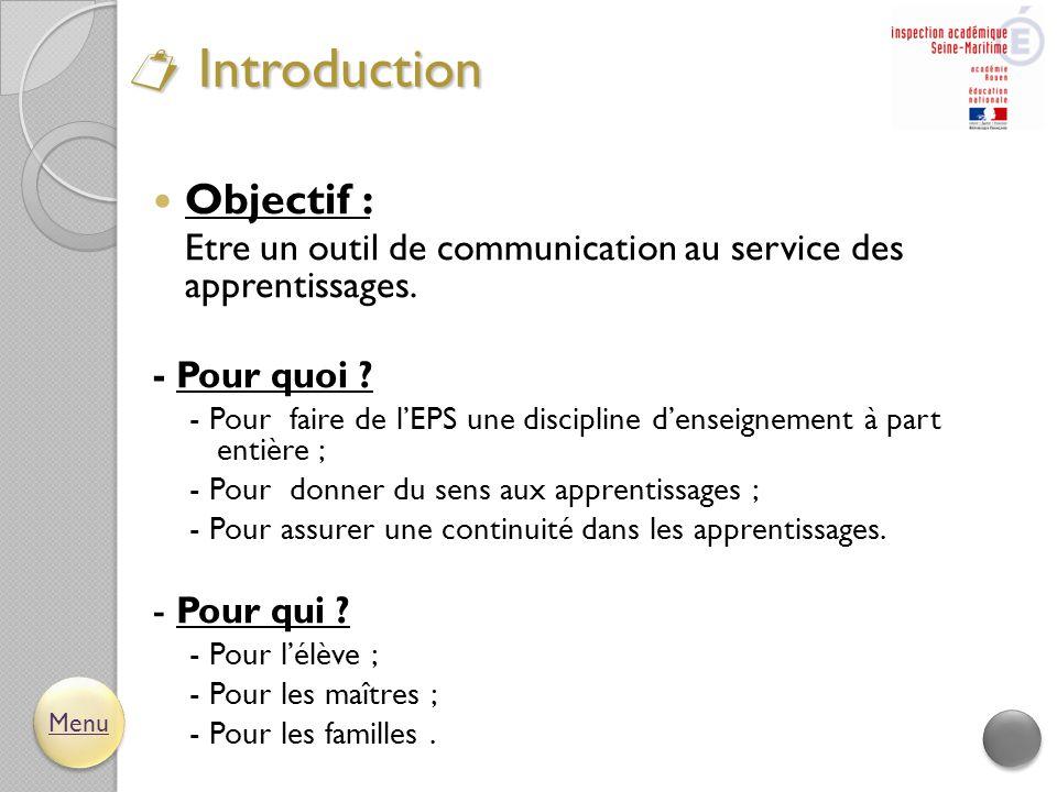  Objectif : Etre un outil de communication au service des apprentissages. - Pour quoi ? - Pour faire de l'EPS une discipline d'enseignement à part en