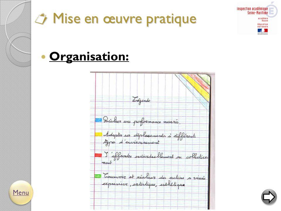  Organisation:  Mise en œuvre pratique Menu