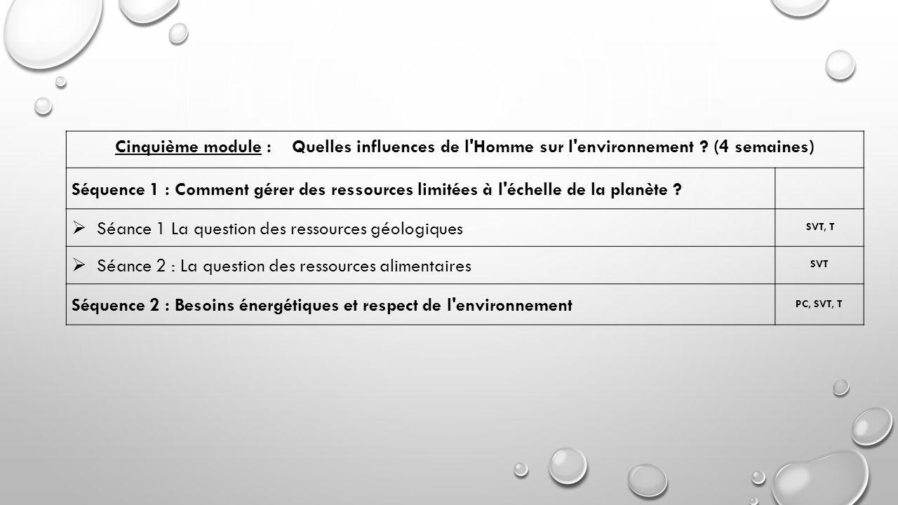 Cinquième module : Quelles influences de l'Homme sur l'environnement ? (4 semaines) Séquence 1 : Comment gérer des ressources limitées à l'échelle de