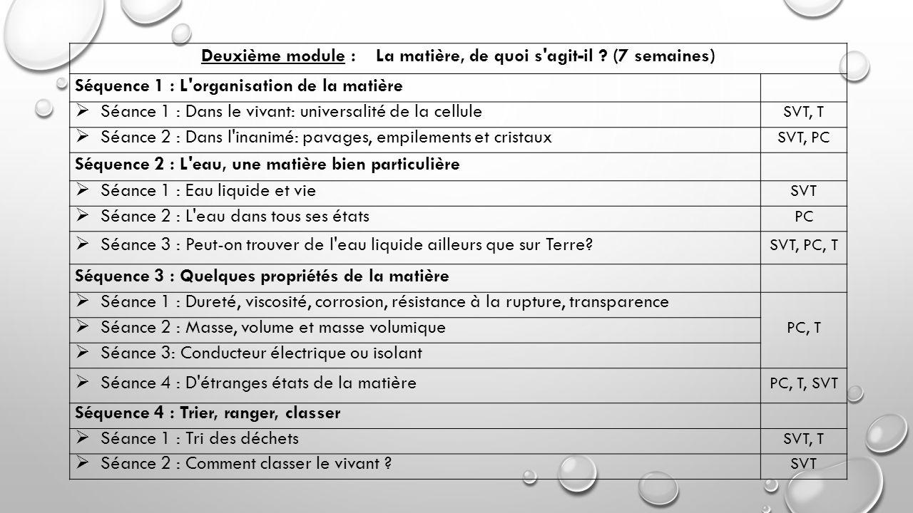 Deuxième module : La matière, de quoi s'agit-il ? (7 semaines) Séquence 1 : L'organisation de la matière  Séance 1 : Dans le vivant: universalité de