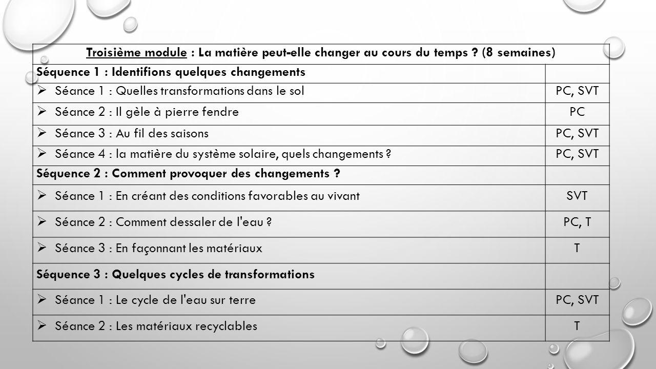 Quatrième module : Comment utilise-t-il la matière à son profit (8 semaines) Séquence 1 : Se nourrir et boire  Séance 1 : Élevage et culture PC, SVT, T  Séance 2 : Le pain : une transformation sous contrôle PC, SVT, T  Séance 3 : Des boissons, avec ou sans bulles PC, SVT Séquence 2 : Communiquer  Séance 1 : De la pierre gravée au CD-ROM Français, PC, SVT, T  Séance 2 : Avec Internet, que se passe-t-il .