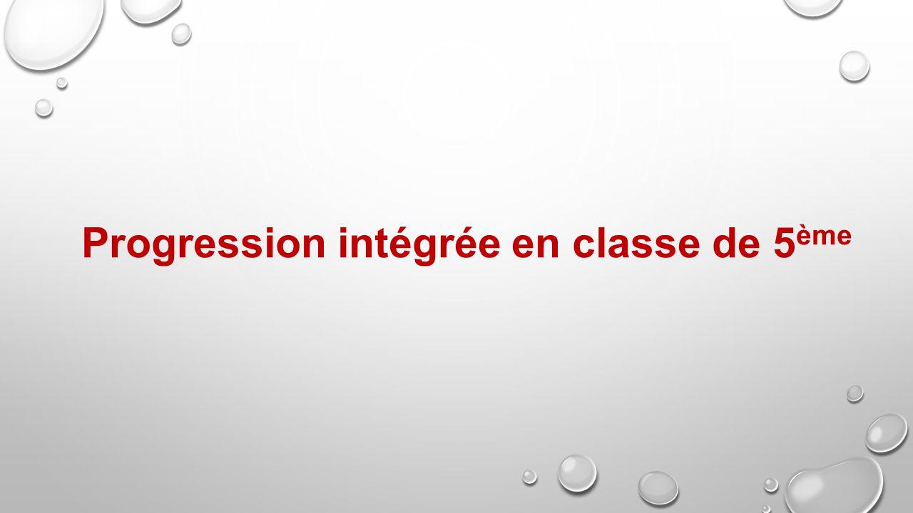 Progression intégrée en classe de 5 ème