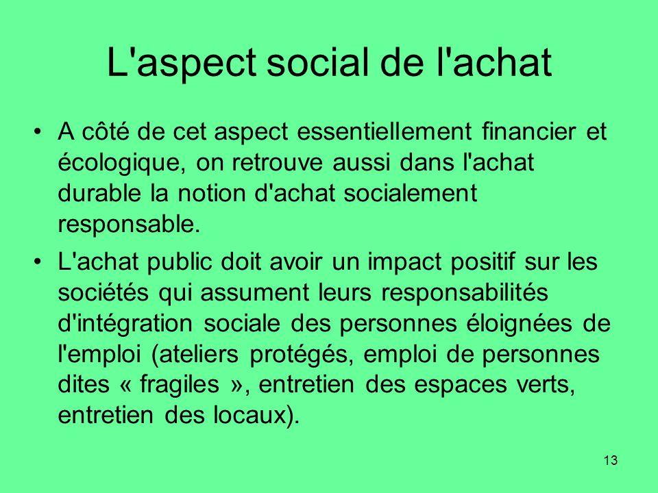 13 L aspect social de l achat •A côté de cet aspect essentiellement financier et écologique, on retrouve aussi dans l achat durable la notion d achat socialement responsable.