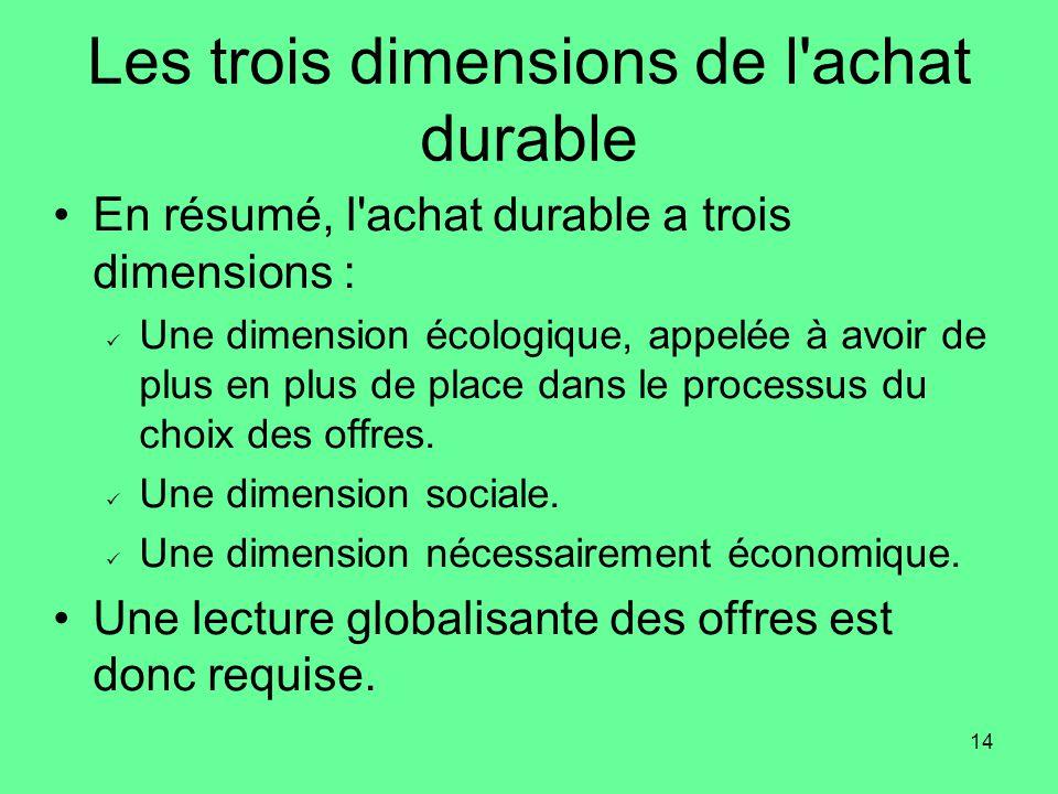 14 Les trois dimensions de l achat durable •En résumé, l achat durable a trois dimensions :  Une dimension écologique, appelée à avoir de plus en plus de place dans le processus du choix des offres.