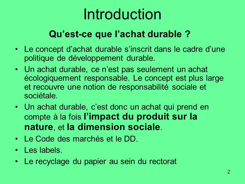2 Introduction Qu'est-ce que l'achat durable .