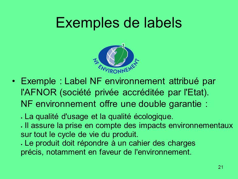 21 Exemples de labels •Exemple : Label NF environnement attribué par l AFNOR (société privée accréditée par l Etat).