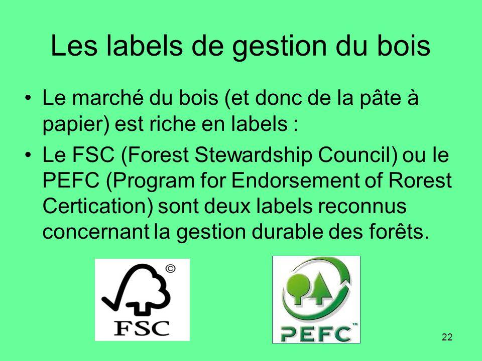 22 Les labels de gestion du bois •Le marché du bois (et donc de la pâte à papier) est riche en labels : •Le FSC (Forest Stewardship Council) ou le PEFC (Program for Endorsement of Rorest Certication) sont deux labels reconnus concernant la gestion durable des forêts.