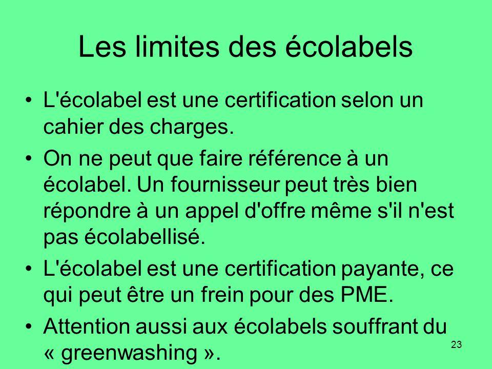23 Les limites des écolabels •L écolabel est une certification selon un cahier des charges.